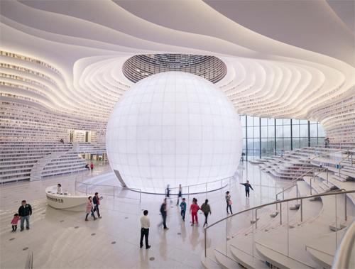 Thư viện giống như một vũ trụ sách ở thành phố Thiên Tân (Trung Quốc).