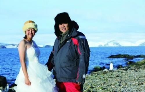 Lương Hồng và Trương Hân Vũ - cặp vợ chồng đầu tiên tổ chức đám cưới tại Nam Cực