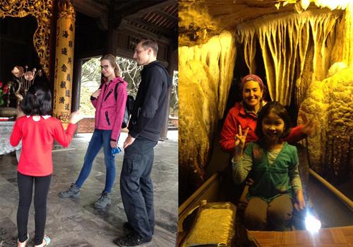 Bé Mai làm hướng dẫn viên du lịch miễn phí cho các du khách đến Ninh Bình.