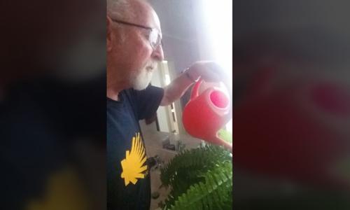 ÔngNigel Fitton rất thích thú khi phát hiện trò đùa của vợ nên vẫn tiếp tục tưới nước cho cây giả để con gái chụp hình. Ảnh:CTVNews.