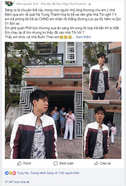 Đoạn status do chị Thảo đăng trên mạng xã hội giúp Sang tìm lại ví có tới hơn 50.000 lượt chia sẻ.