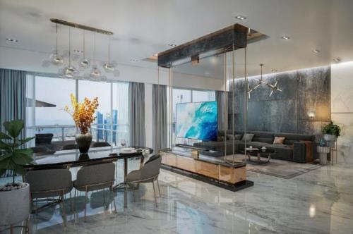 Thiết kế không gian phòng khách ngập tràn ánh sáng tự nhiên với cửa nhôm kính.