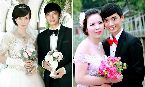 Ảnh cưới của đôi vợ chồng năm 2014 và năm 2017. Dù sau 3 năm chị Ngọc đã có dấu hiệu tuổi tác, tăng lên tới 10 kg nhưng tình yêu của Đức dành cho vợ không thay đổi. Ảnh: NVCC.