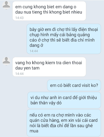 Một đoạn hội thoại mà anh Hùng đã hướng dẫn Thảo.