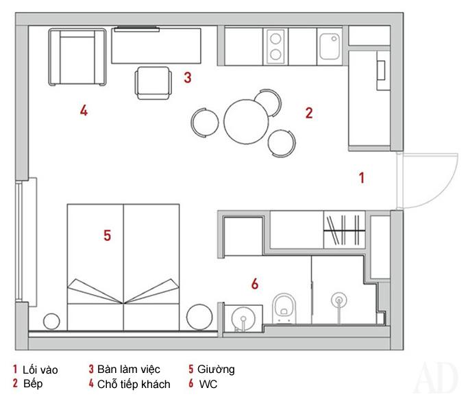Căn hộ 28 m2 lý tưởng cho vợ chồng mới cưới