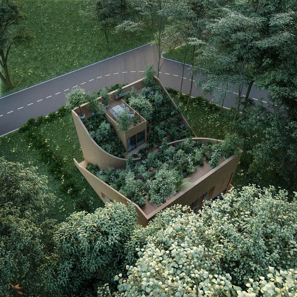 Ngôi nhà có vườn trải dài từ tầng một lên mái