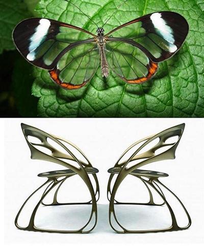 Nhà thiết kế đã mô phỏng hoàn hảo chiếc ghế lấy cảm hứng từ cánh bướm trong suốt.