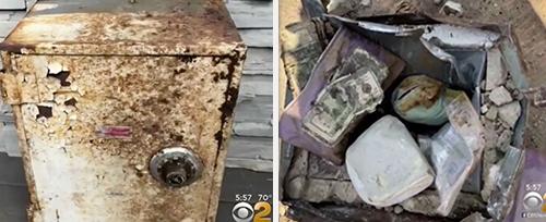 Chiếc két đã bị hư hại nhưng đồ bên trong vẫn còn nguyên.Ảnh:CBS.