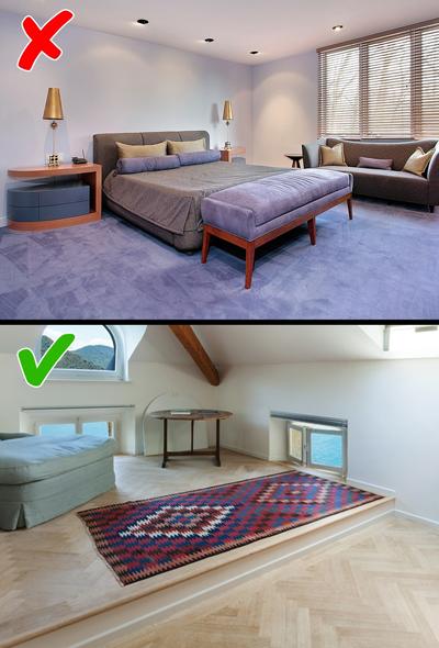 Thảm phủ kín sàn: Chỉ cần một vết bẩn trên thảm là bạn phải thuê người làm sạch hoặc thay thế. Những tấm thảm khổ quá lớn, phủ kín nhà vừa tốn tiền mua vừa mất nhiều công vệ sinh. Nếu không, chúng sẽ tích bụi và vi khuẩn gây hại cho sức khỏe.