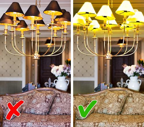 Chụp đèn quá to hoặc có màu tối: Nếu bạn cần trong nhà chan hòa ánh sáng, đừng nên lựa chọn những chiếc đèn có bóng bị chụp đèn che phủ hết.