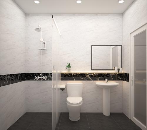 Khác với phòng khách, phòng ngủ, phòng tắm cần chọn gạch ốp lát có kích thước lớn hơn. Nhờ vậy, WC sẽ trở nên thông thoáng và có vẻ rộng rãi hơn. Ngoài ra, Gạch có kích thước lớn như 40x80, 30x80, 60x60 cm tạo ít mạch thuận tiện cho việc chà rửa, lau chùi.