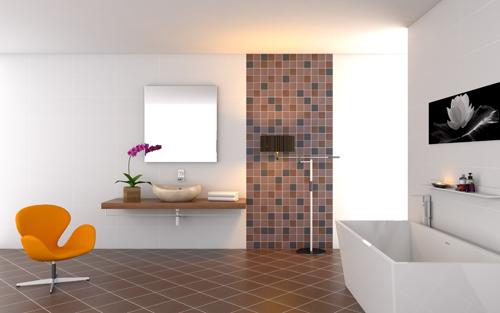 Các gam màu đối lập như đen - trắng, nâu - trắng...cũng mang đếu hiệu quả trong phòng tắm.