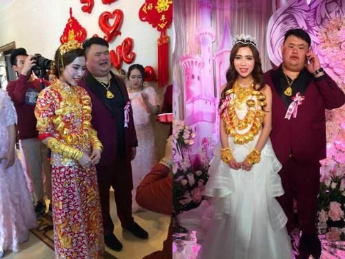 Cô dâu đeo vàng trĩu cổ ngày cưới gây xôn xao Trung Quốc