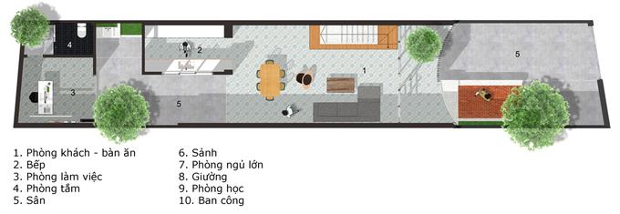 Ngôi nhà Sài Gòn có mặt tiền uốn cong như tờ giấy