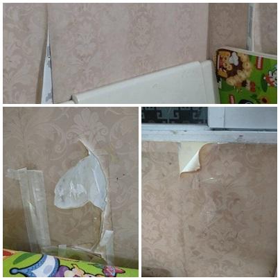 Dùng giấy dán tường thay sơn, tôi khổ sở vá khắp nhà
