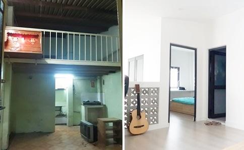 Tầng lửng đơn giản tiện dụng với một phòng ngủ và nhà vệ sinh.