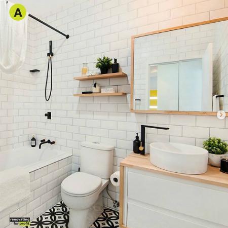 Lát gạch ngang tạo cảm giác nhà tắm rộng hơn - Ảnh: Instagram.