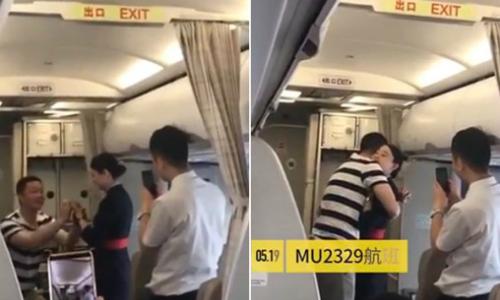 Chàng trai bất ngờ cầu hôn bạn gái trên chuyến bay, khiến cô bị sa thải. Ảnh: Shine.