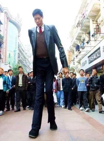 Chiều cao vượt trội khiến anh Zhang Juncai luôn là trung tâm chú ý khi đến bất cứ đâu. Ảnh: Sina.
