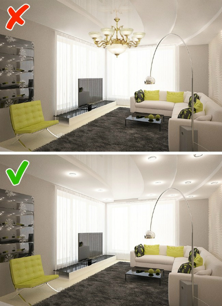 Đèn chùm không phù hợp treo ở nhà nhỏ.