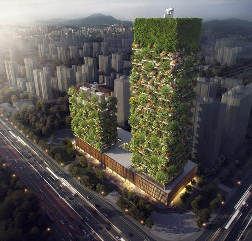 Rừng thẳng đứng đầu tiên tại châu Á đang trong quá trình thi công tại thành phố Nam Kinh, tỉnh Giang Tô, dự kiến hoàn thành vào cuối năm 2019. Thực chất đâylà hai tòa tháp với chiều cao gần 200mvà 108 m với hàng trăm cây và bụi cây. Nó được kỳ vọng sẽ góp phần giải quyết cuộc khủng hoảng ô nhiễm ở Trung Quốc.