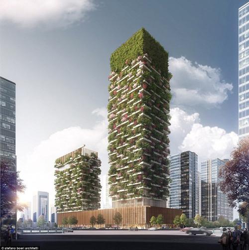 Từ tầng 8 đến tầng 35 của tòa tháp cao 183mets được dành làm văn phòng cho thuê. Nó còn có bảo tàng, trường kiến trúc xanh và một câu lạc bộ riêng nằm trên tầng thượng của tòa nhà. Tòa tháp thứ hai cao 108 mét. Tại đây đặt khách sạn Hyatt với 247 phòng và bể bơi trên tầng thượng.