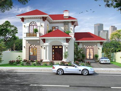 Mẫu biệt thự Pháp nổi bật với tone màu trắng xuyên suốt, điểm xuýt trên đó là màu đỏ của cửa gỗ, mái Thái