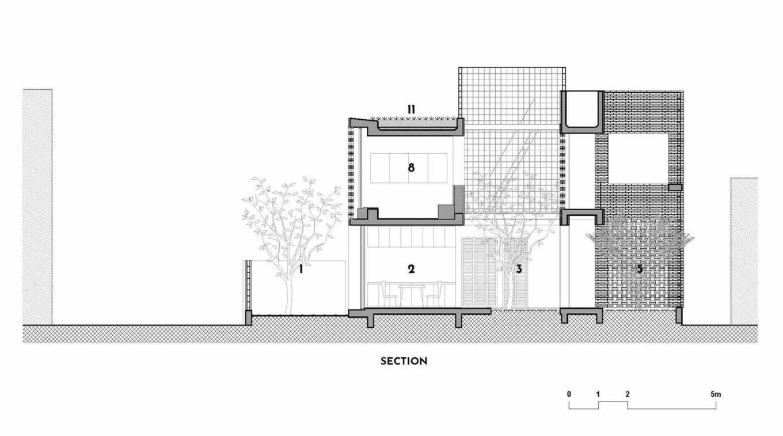 StudioHAPP Phan Thiet House Section 1541476045 680x0 - Nhà mang phong cách Nhật kết hợp Tây Ban Nha ở làng chài Bình Thuận