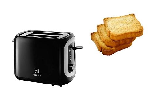 Máy nướng bánh mì Electrolux ETS3505: giá 630.000 đồng (giảm 20%)Sản phẩm có kiểu dáng hiện đại, màu sắc sang trọng, phù hợp với nhiều không gian bếp khác nhau giúp bạn thuận tiện hơn khi sử dụng.Bên dưới sản phẩm được bố trí nút vặn với 7 chế độ điều chỉnh độ giòn của bánh, bạn có thể tùy chỉnh theo sở thích riêng. Khay nướng sản phẩm có thể tháo rời, giúp dễ dàng vệ sinh, lau rửa sau khi nướng bánh nhanh chóng và dễ dàng.Ngoài chức năng nướng bánh, bạn còn có thể sử dụng máy để rã đông thực phẩm, hay hâm nóng thức ăn, giúp tiết kiệm thời gian chế biến.