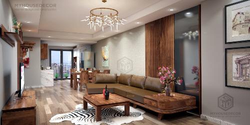 Phòng khách sang trọng với sofa gỗ óc chó
