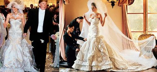 Chiếc váy cưới sang trọng, cầu kỳ của Melanie Trump. Ảnh: Trend-chaser.