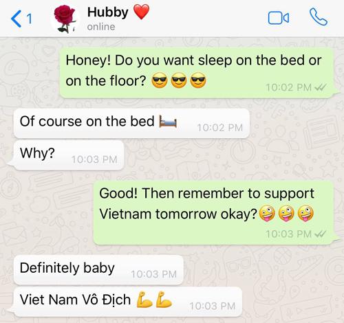 Đoạn tin nhắn chị Hà gửi cho chồng mình, nắn gân anh phải cổ vũ cho đội tuyển Việt Nam nếu muốn ngủ trên giường.
