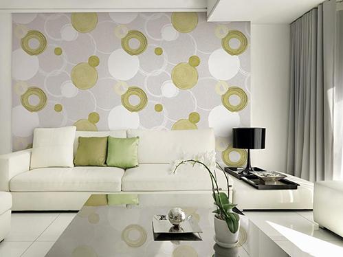 Trang trí phòng khách bằng vải dán tường.