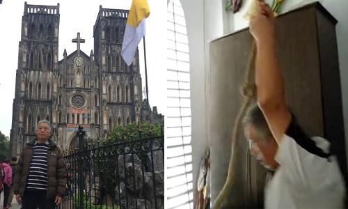 Ông Tiến đứng trước nhà thờ (trái) và ngày còn kéo chuông (phải).