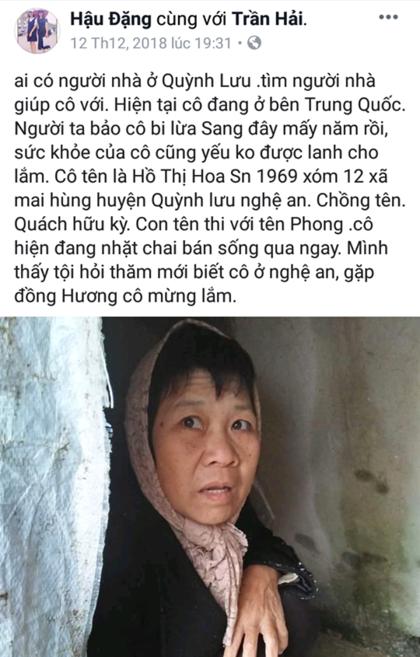 Đọc được chia sẻ của chị Trần Hải trên Facebook về mẹ mình, anh Thuận đã nhanh chóng xác nhận lại từ dì và nhanh chóng đi đón mẹ. Ảnh chụp Facebook Trần Hải.