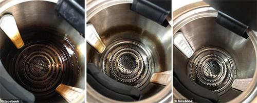 Chiếc ấm lâu ngày cáu bẩn (trái) được làm sạch một phần sau lần đun với chanh đầu tiên (giữa), và sạch bóng sau khi đun lần hai (phải). Ảnh: facebook.