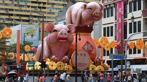 Những chú heo khổng lồ ở Chinatown, Singapore. Ảnh: AFP.