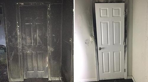Hình ảnh cánh cửa mặt ngoài và mặt trong được sở cứu hỏa Mỹ đưa ra để chứng minh việc đóng cửa có thể cứu sống người. Ảnh: