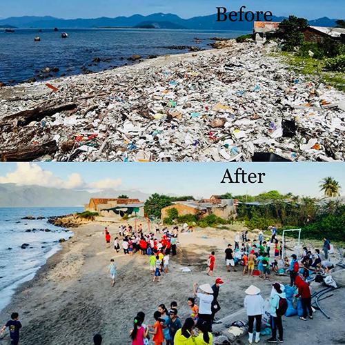 Chị Yến đã kêu gọi hơn 300 tình nguyện viên nhặt gần 120 tấn rác ở bãi biển Vĩnh Lương, Nha Trang. Ảnh: NVCC.