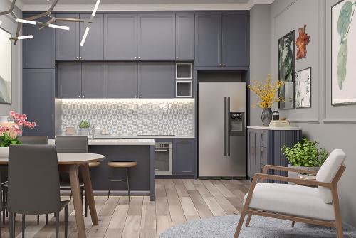 Người dùng được tham khảo cách thiết kế thông minh, tiết kiệm diện tích trong không gian bếp mang hơi thở hiện đại, tông màu trung tính trang nhã.