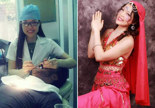 Băng đang là chủ phòng khám nha khoa ở Nguyễn Trãi (Hà Nội) và kinh doanh homestay.Từ lúc mất đi đôi chân, côtìm đến nhảy múavà tạo nên những vũ điệu của riêng mình. Ảnh: NVCC.