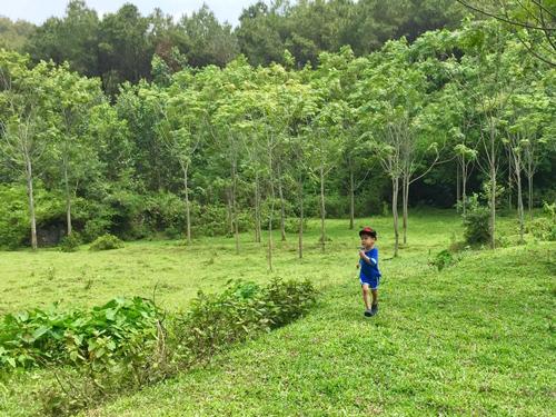 Con tôi chạy nhảy thoải mái khi về quê.