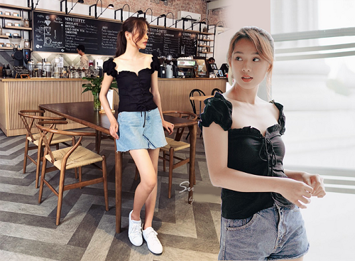 Áo kiểu dây rút có thể phối cùng quần shorts jeans hay chân váy jeans giúp tôn dáng người mặc, đồng thời tạo phong cách năng động, trẻ trung trong ngày hè.