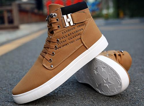 Giày nam thời trang cao cổ sneaker màu nâu - Nâu