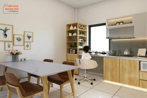 Các kiến trúc sư đã sử dụng những vật liệu và màu sắc hiện đại cho không gian bếp thật mới mẻ, tiện dụng.
