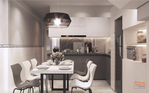 Bếp sẽ được thiết kế theo phong cách tối giản, bố trí hiện đại, tiện dụng.