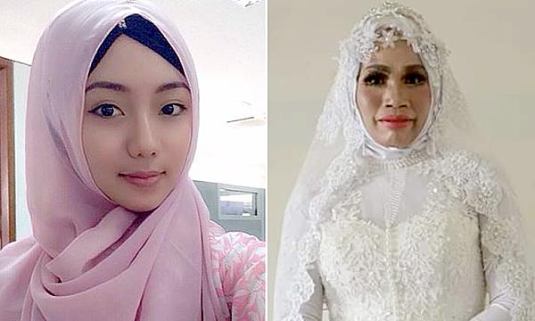 Hình ảnh bạn gái gửi cho Yusuf (trái) và thực tế (phải). Ảnh: Tribunnews.