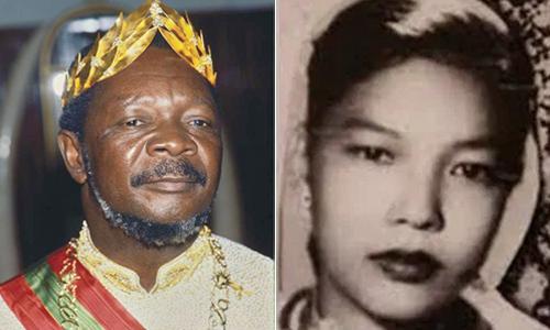 Bokassa làm tổng thống Trung Phisau đó tự xưng hoàng đế. Bên phải là bà Nguyễn Thị Huệ, người đã sinh cho ông cô con gái Martine.Ảnh: europe1.