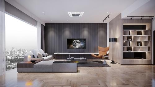 Phòng khách sang trọng, tinh tế với dàn lạnh âm trần tăng khả năng khuếch tán hơi lạnh cho toàn bộ không gian.