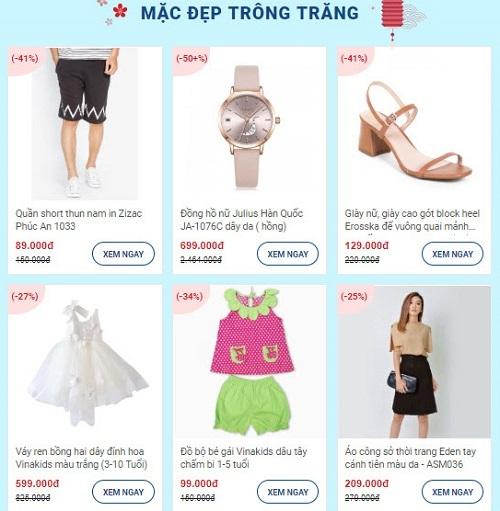 Shop VnExpress dành nhiều ưu đãi cho các mặt hàng thời trang nam nữ như giày dép, váy đầm, đồng hồ bên cạnh thời trang cho trẻ em.
